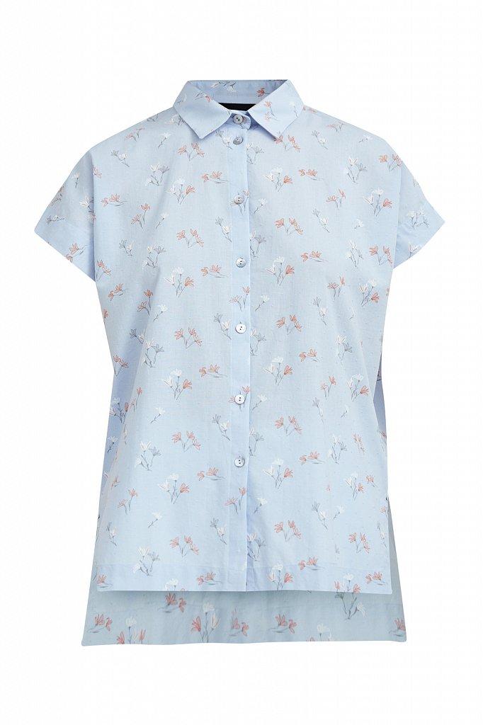 Хлопковая рубашка с цветочным рисунком, Модель S21-11017, Фото №7
