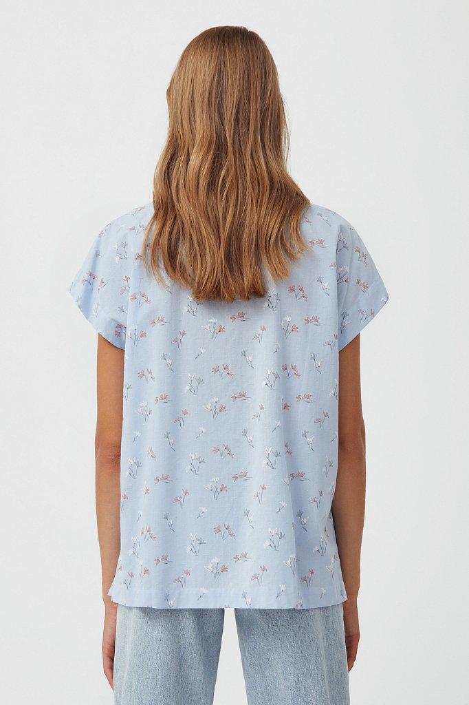 Хлопковая рубашка с цветочным рисунком, Модель S21-11017, Фото №4