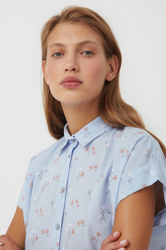 Хлопковая рубашка с цветочным рисунком, Модель S21-11017, Фото №6