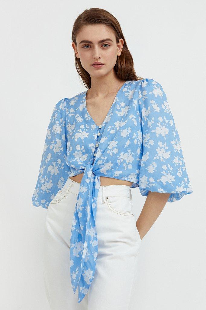 Короткая блуза с цветочным принтом, Модель S21-12020, Фото №1