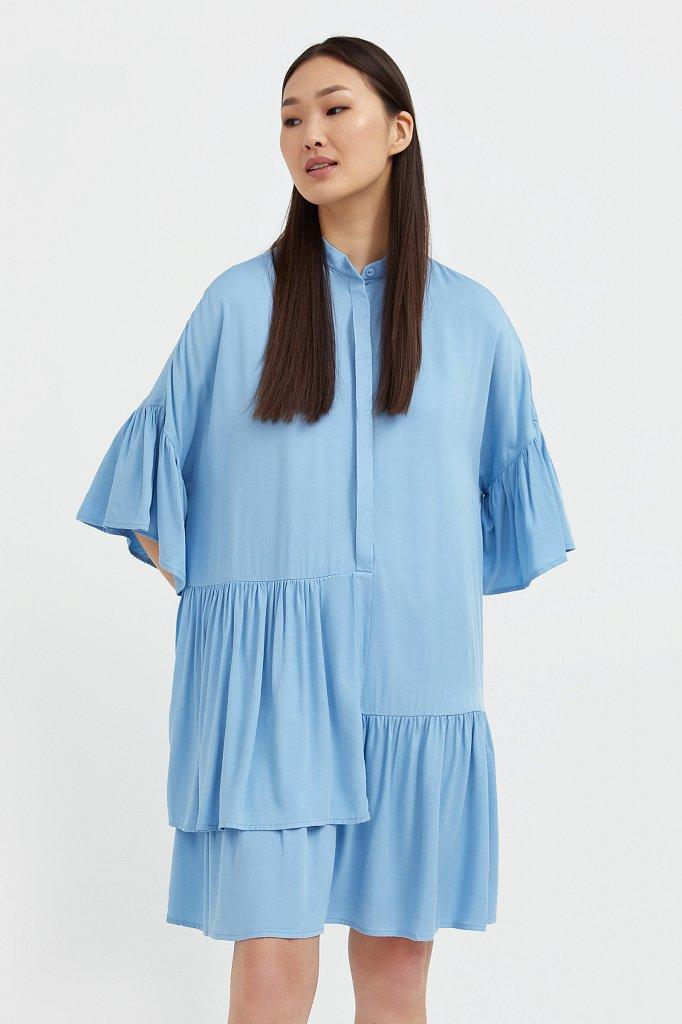 Свободное платье с асимметричными воланами, Модель S21-12023, Фото №2
