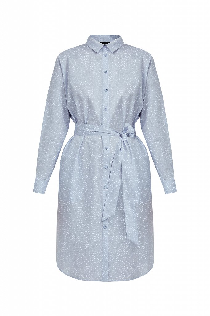 Хлопковое платье-рубашка с принтом, Модель S21-12043, Фото №7