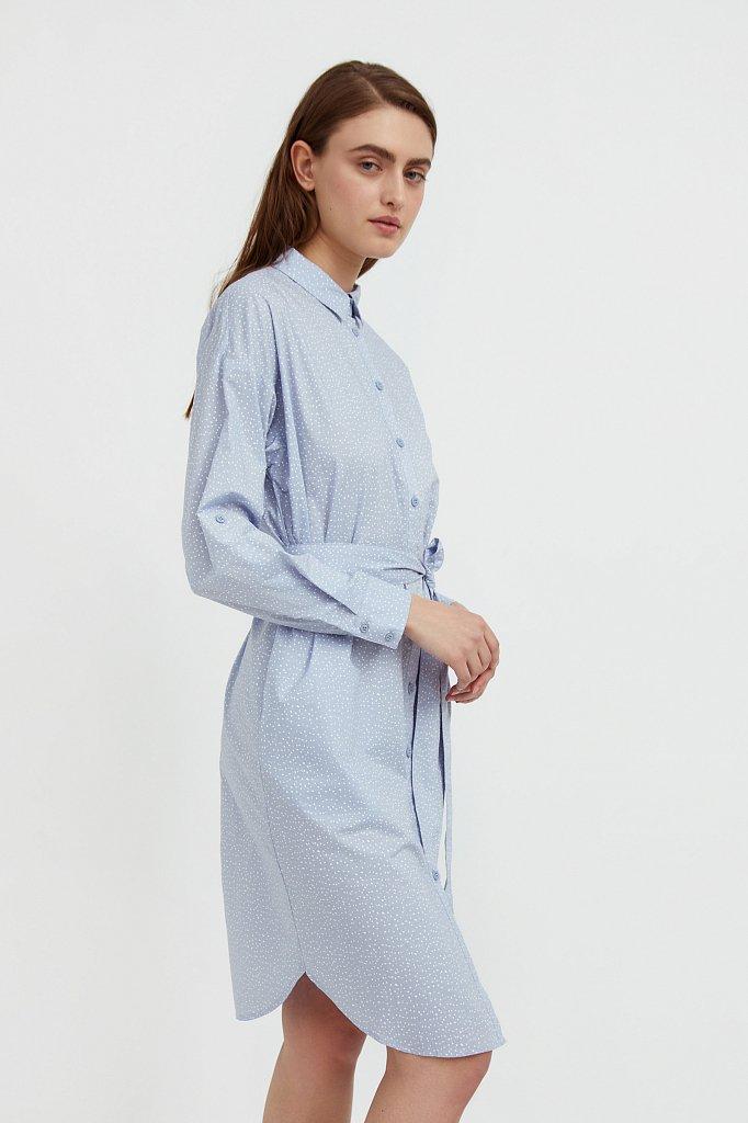 Хлопковое платье-рубашка с принтом, Модель S21-12043, Фото №3