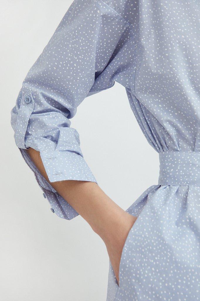 Хлопковое платье-рубашка с принтом, Модель S21-12043, Фото №5