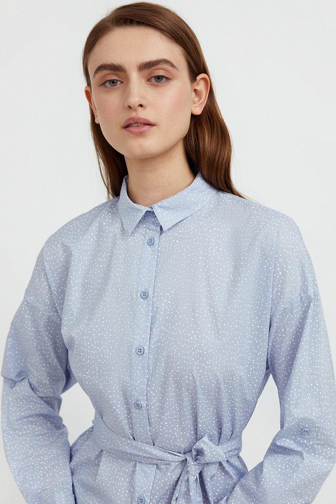 Хлопковое платье-рубашка с принтом, Модель S21-12043, Фото №6