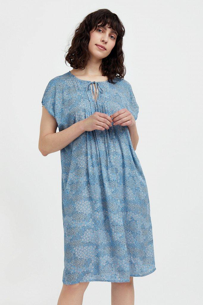 Платье с цветочным принтом из мягкой вискозы, Модель S21-12093, Фото №1