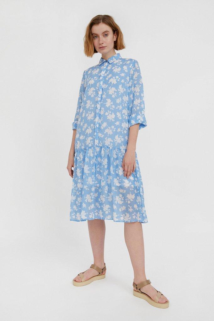 Свободное платье с цветочным принтом, Модель S21-12096, Фото №1