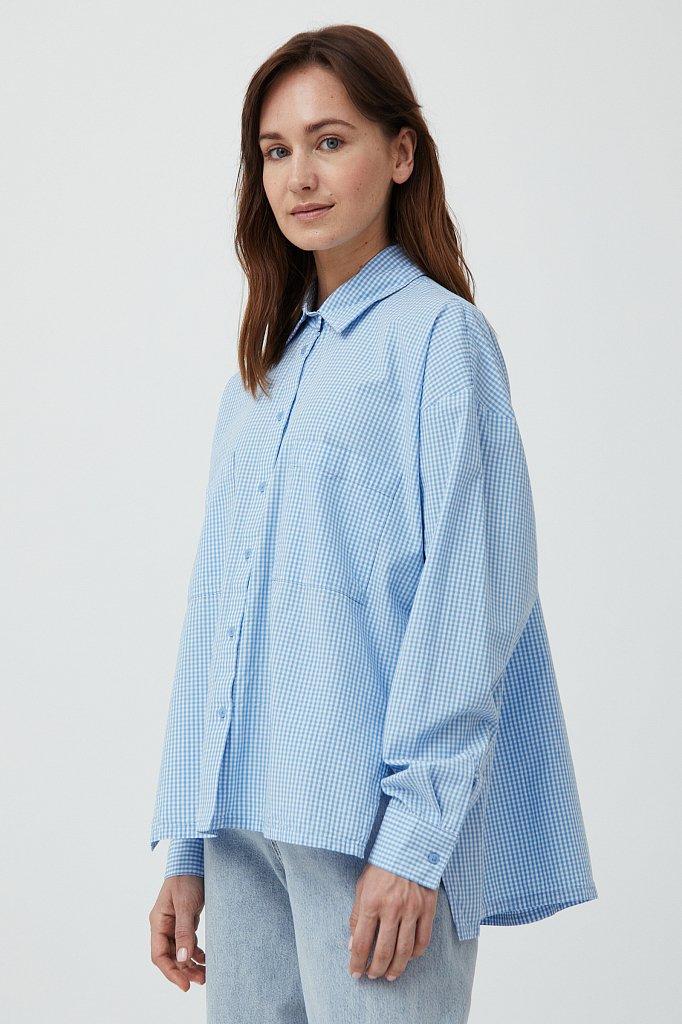 Хлопковая рубашка в клетку, Модель S21-14053, Фото №3