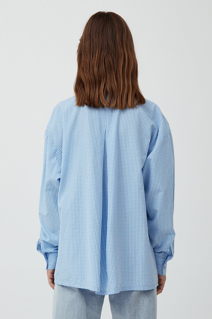 Хлопковая рубашка в клетку, Модель S21-14053, Фото №4