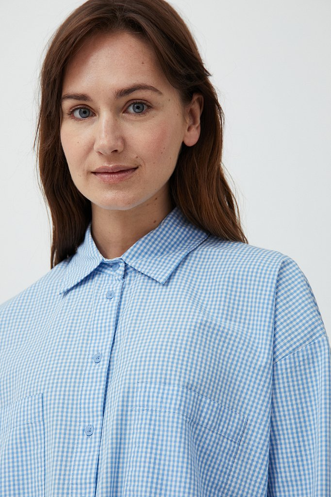 Хлопковая рубашка в клетку, Модель S21-14053, Фото №5