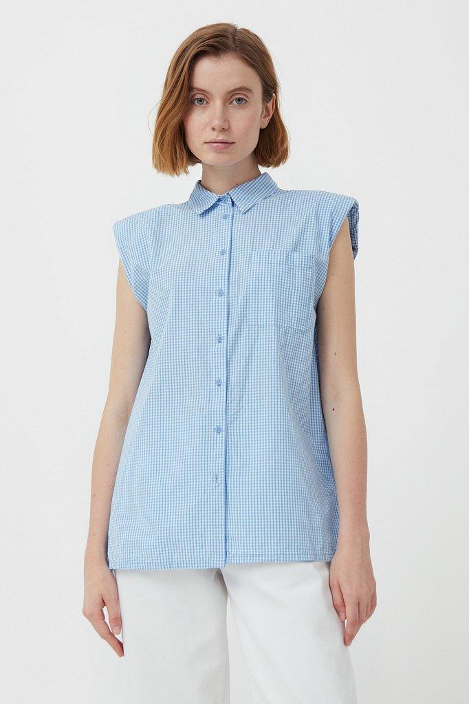 Хлопковая блузка с подплечниками, Модель S21-14055, Фото №1