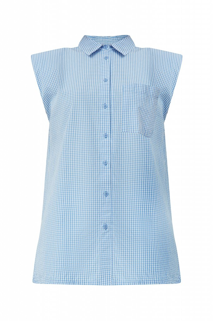 Хлопковая блузка с подплечниками, Модель S21-14055, Фото №7