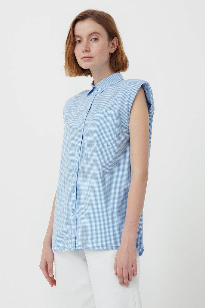 Хлопковая блузка с подплечниками, Модель S21-14055, Фото №3