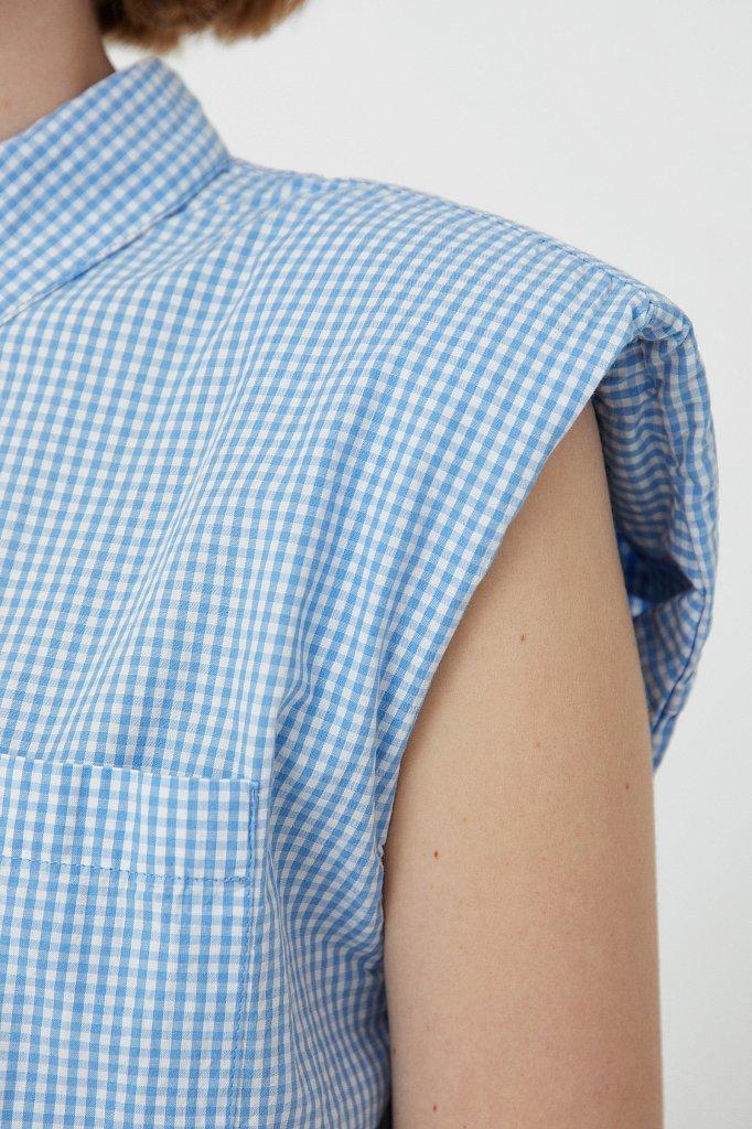 Хлопковая блузка с подплечниками, Модель S21-14055, Фото №5