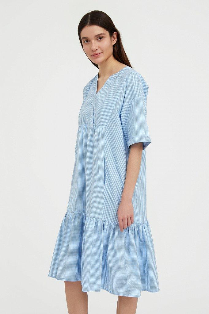 Свободное платье в клетку, Модель S21-14056, Фото №3