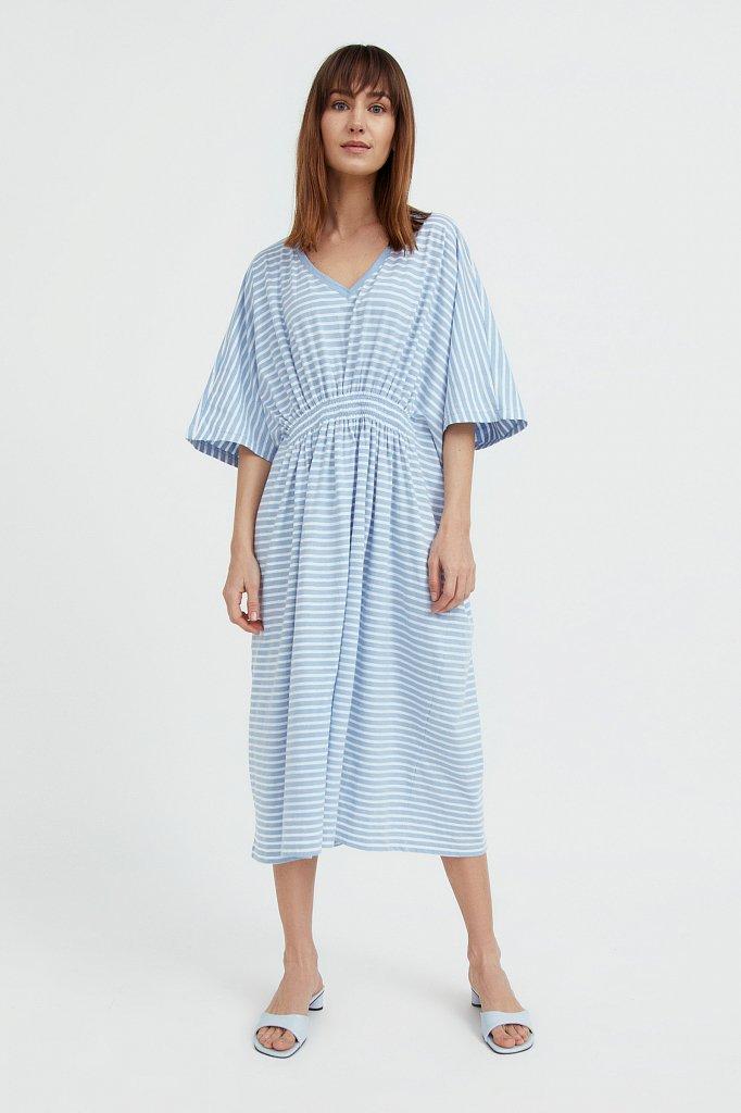 Полосатое платье с драпировкой, Модель S21-14072, Фото №1