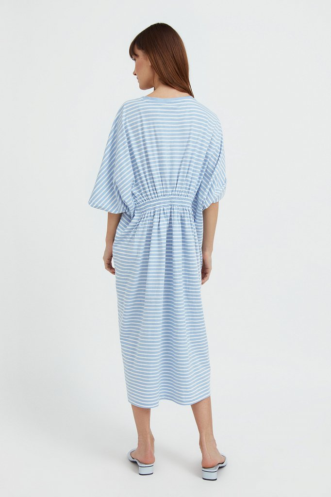 Полосатое платье с драпировкой, Модель S21-14072, Фото №4