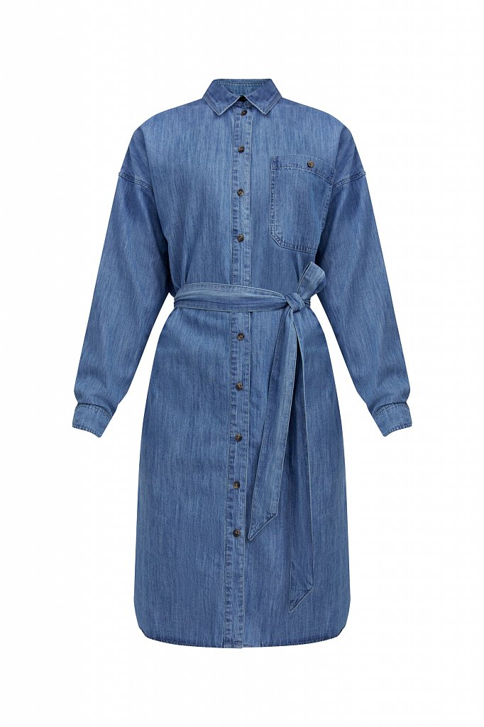 Платье-рубашка из 100% хлопка, Модель S21-15004, Фото №7
