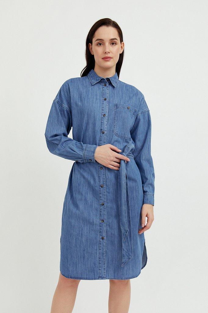 Платье-рубашка из 100% хлопка, Модель S21-15004, Фото №1