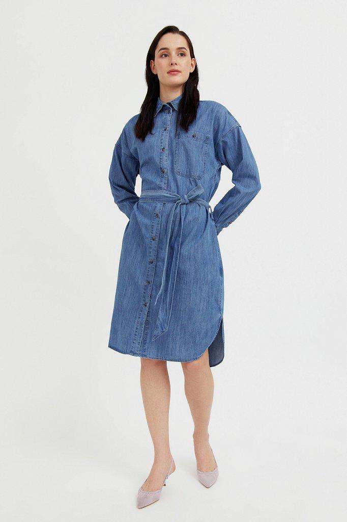 Платье-рубашка из 100% хлопка, Модель S21-15004, Фото №2