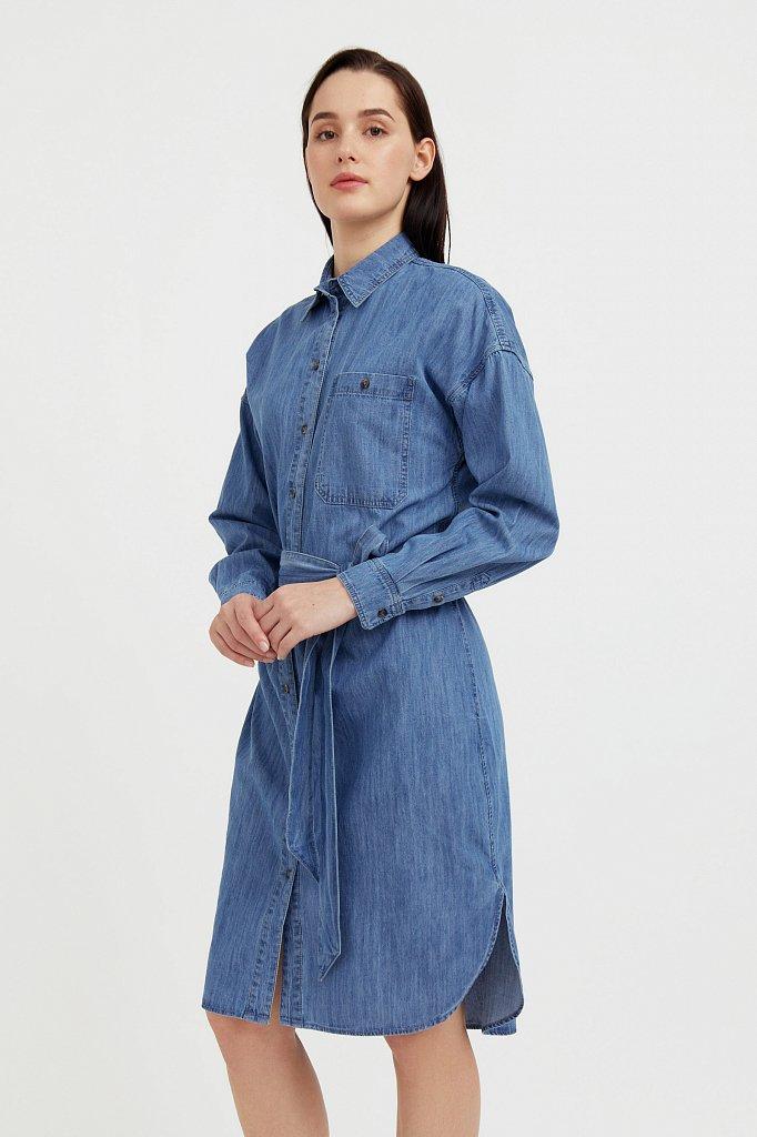 Платье-рубашка из 100% хлопка, Модель S21-15004, Фото №3
