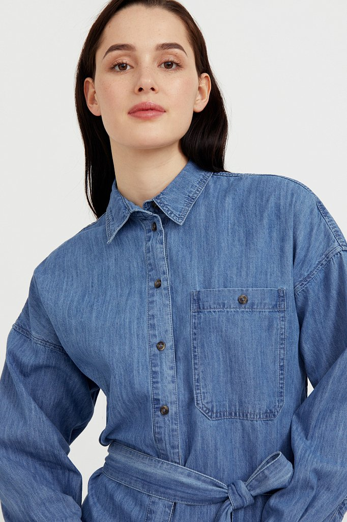 Платье-рубашка из 100% хлопка, Модель S21-15004, Фото №6