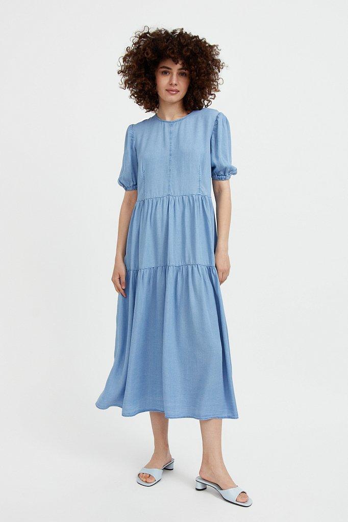Длинное платье с рукавами-фонариками, Модель S21-15008, Фото №2
