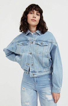 Укороченная джинсовая куртка с объемными
