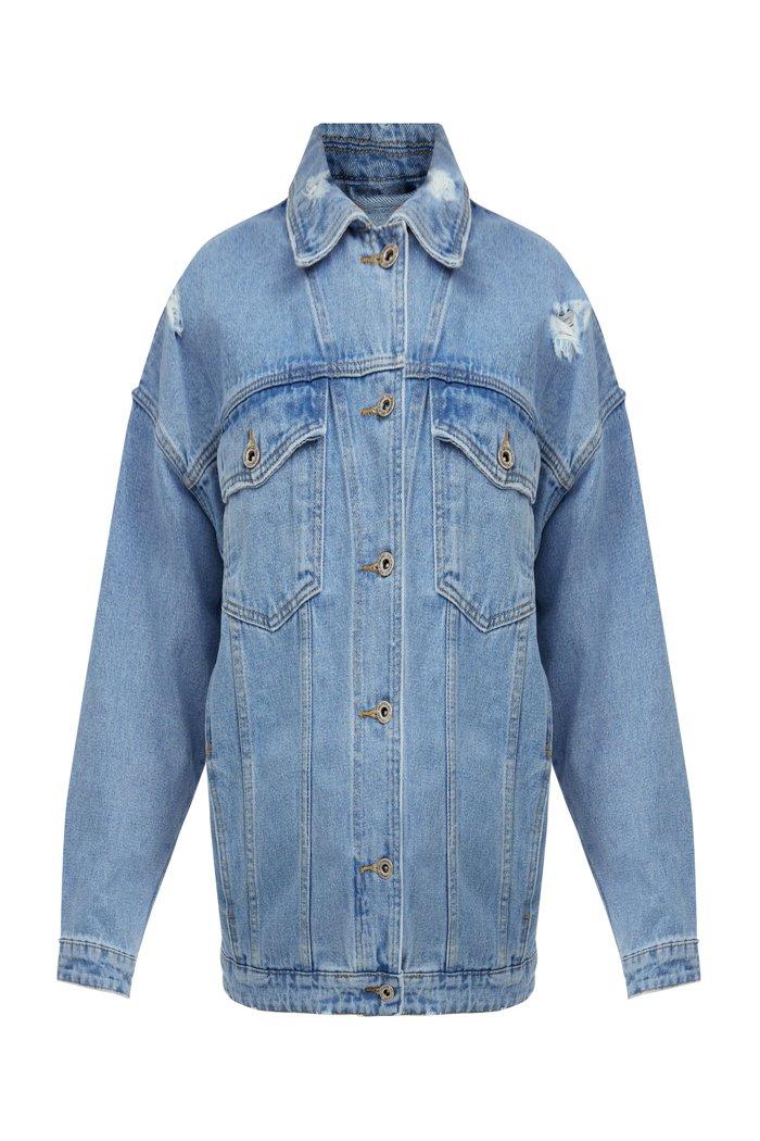Джинсовая куртка свободного кроя, Модель S21-15000, Фото №8