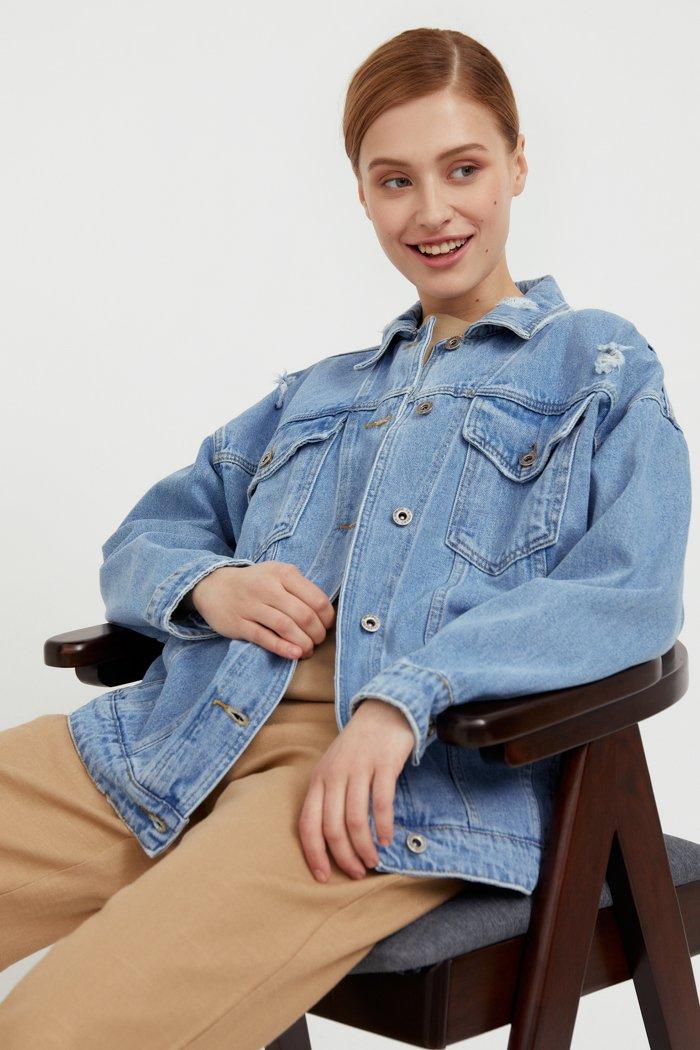 Джинсовая куртка свободного кроя, Модель S21-15000, Фото №3