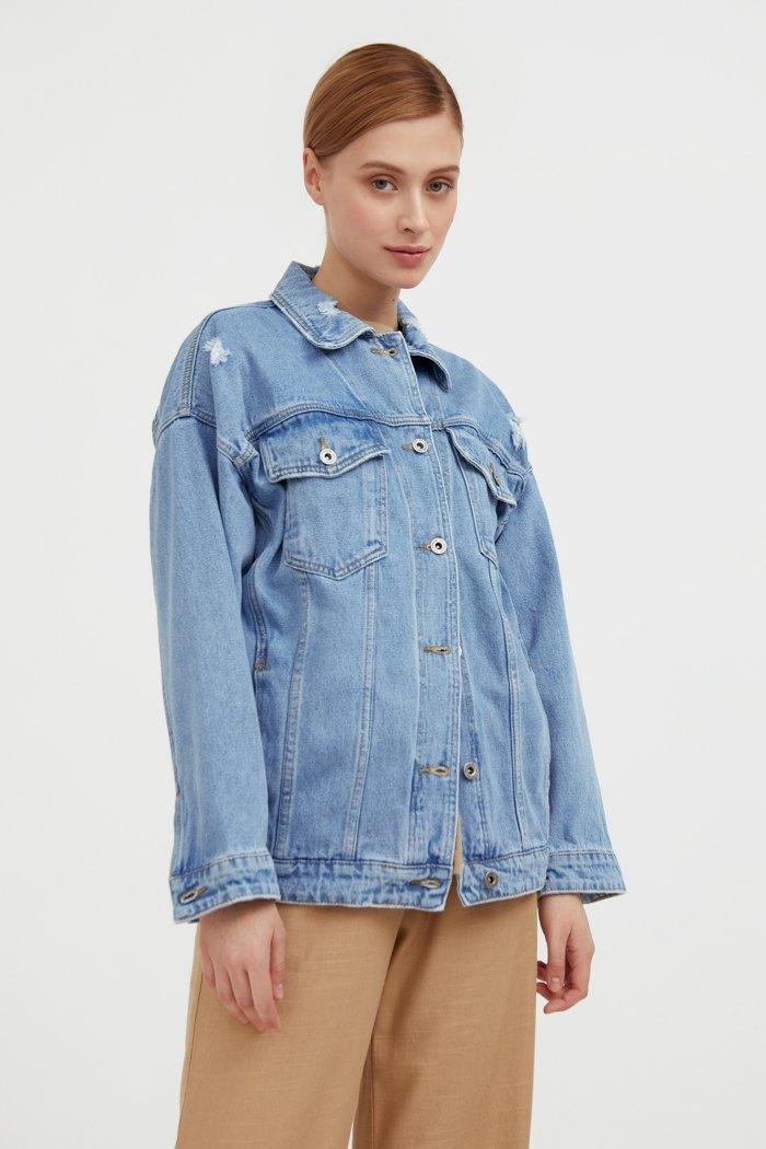 Джинсовая куртка свободного кроя, Модель S21-15000, Фото №4
