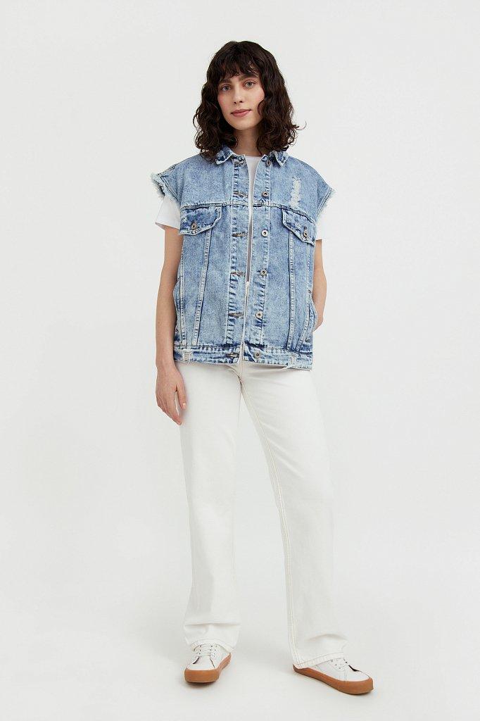 Жилет джинсовый женский, Модель S21-15005, Фото №1