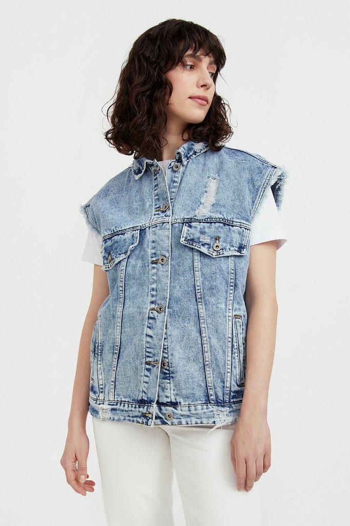 Жилет джинсовый женский, Модель S21-15005, Фото №2