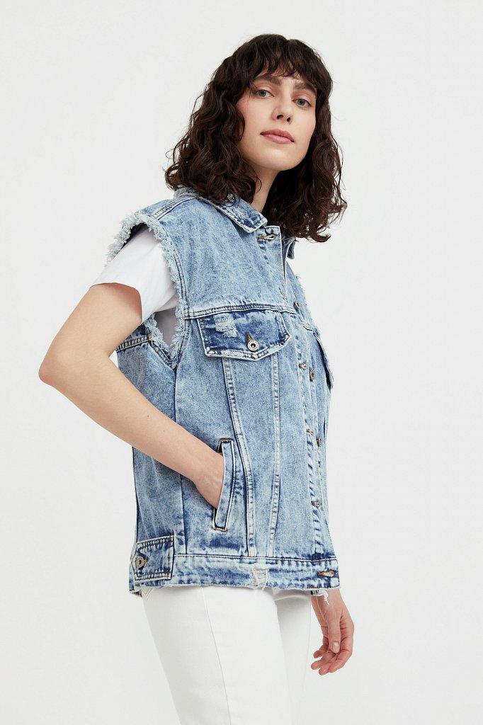 Жилет джинсовый женский, Модель S21-15005, Фото №3
