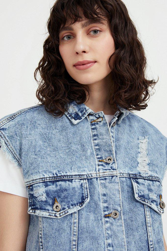 Жилет джинсовый женский, Модель S21-15005, Фото №6