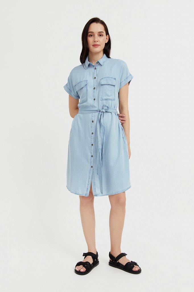 Платье-рубашка из мягкой вискозы, Модель S21-15007, Фото №1
