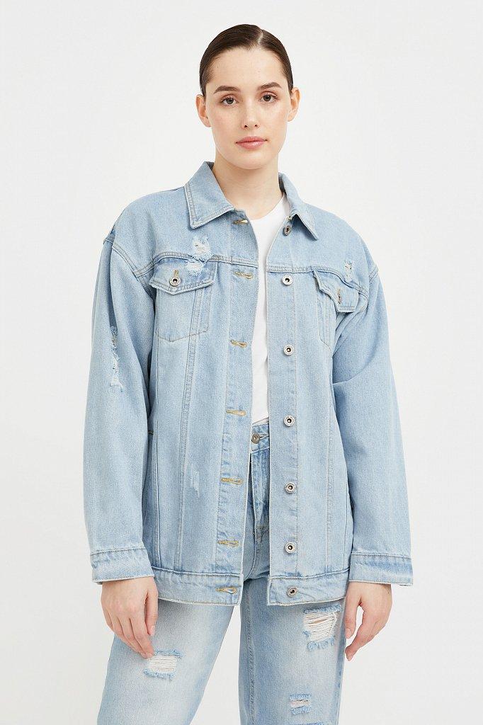 Голубая джинсовая куртка, Модель S21-15015, Фото №1