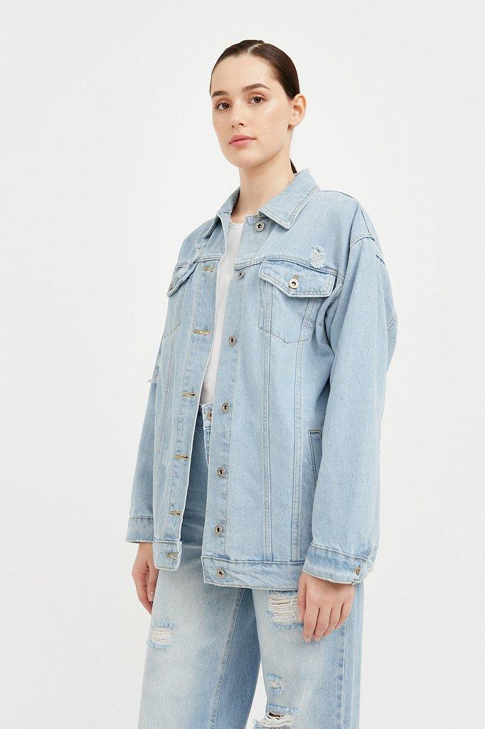 Голубая джинсовая куртка, Модель S21-15015, Фото №3