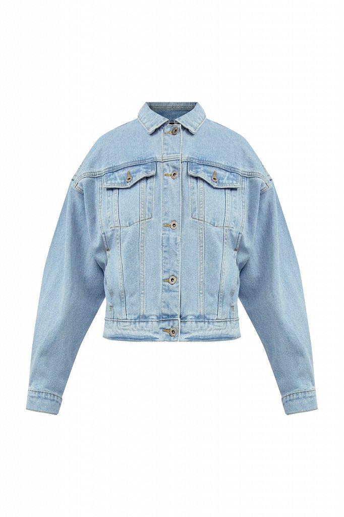 Укороченная джинсовая куртка с объемными рукавами, Модель S21-15016, Фото №7