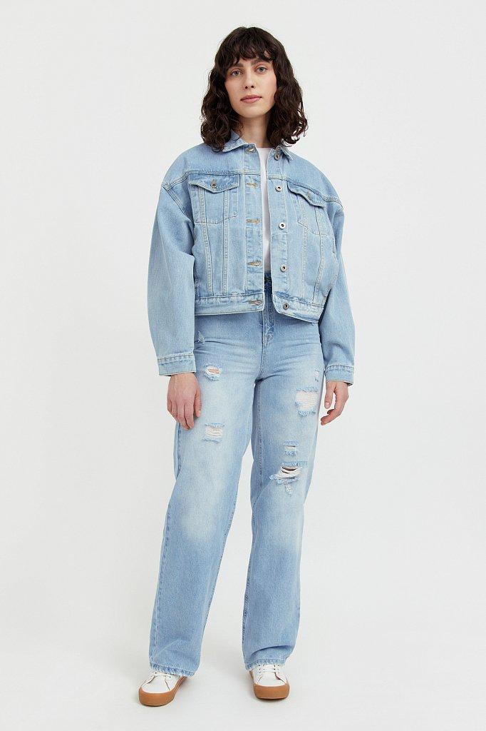 Укороченная джинсовая куртка с объемными рукавами, Модель S21-15016, Фото №2
