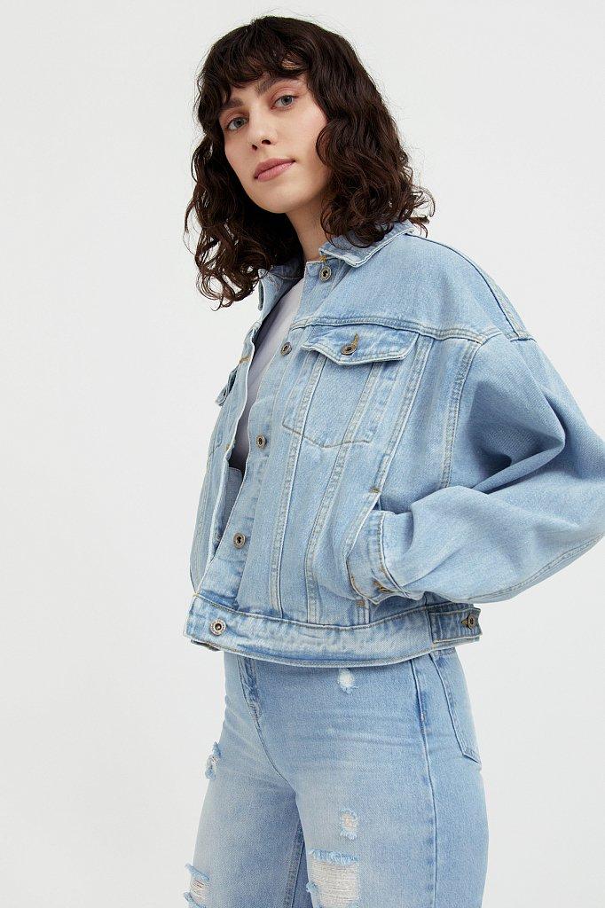 Укороченная джинсовая куртка с объемными рукавами, Модель S21-15016, Фото №3