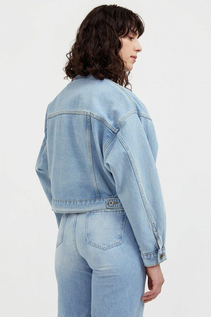 Укороченная джинсовая куртка с объемными рукавами, Модель S21-15016, Фото №4