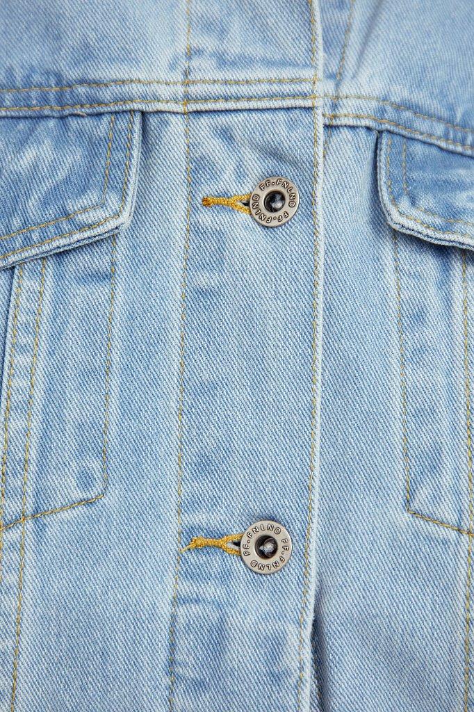 Укороченная джинсовая куртка с объемными рукавами, Модель S21-15016, Фото №5