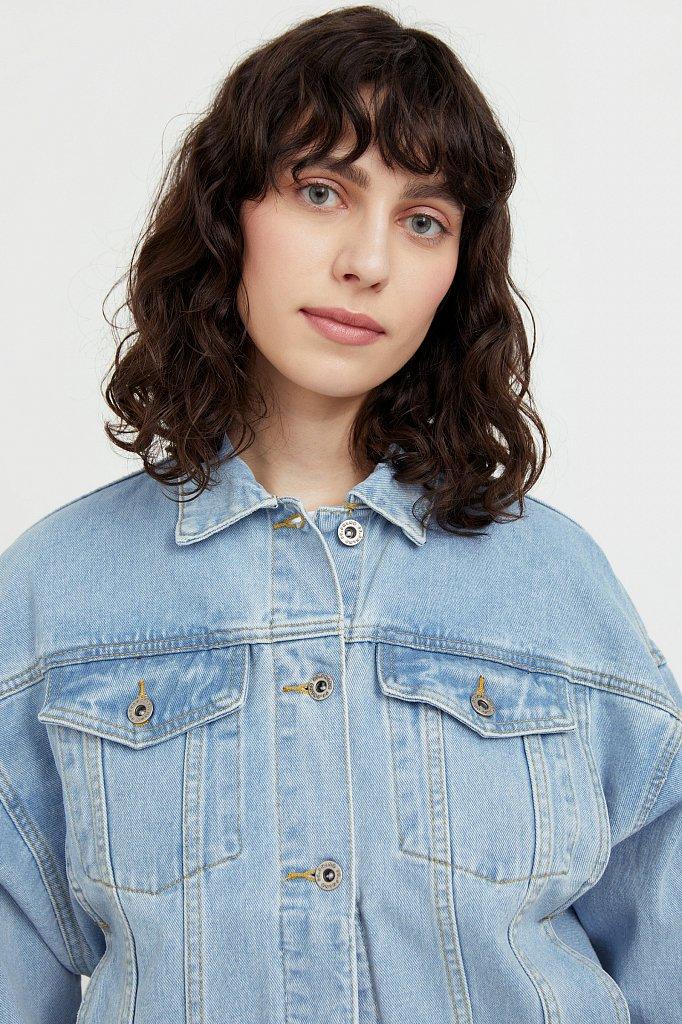 Укороченная джинсовая куртка с объемными рукавами, Модель S21-15016, Фото №6