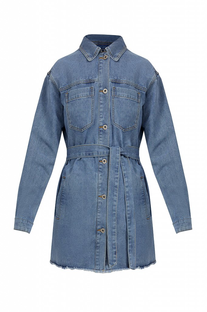 Джинсовая куртка-рубашка с поясом, Модель S21-15017, Фото №7