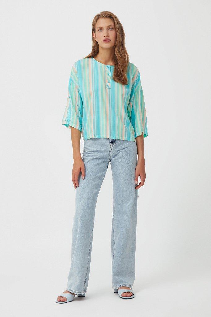 Блузка с полосатым принтом, Модель S21-32022, Фото №2