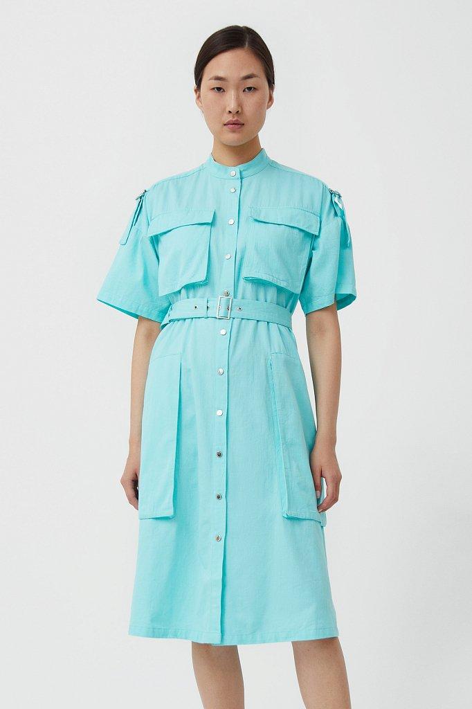 Платье-рубашка из хлопка, Модель S21-32043, Фото №2