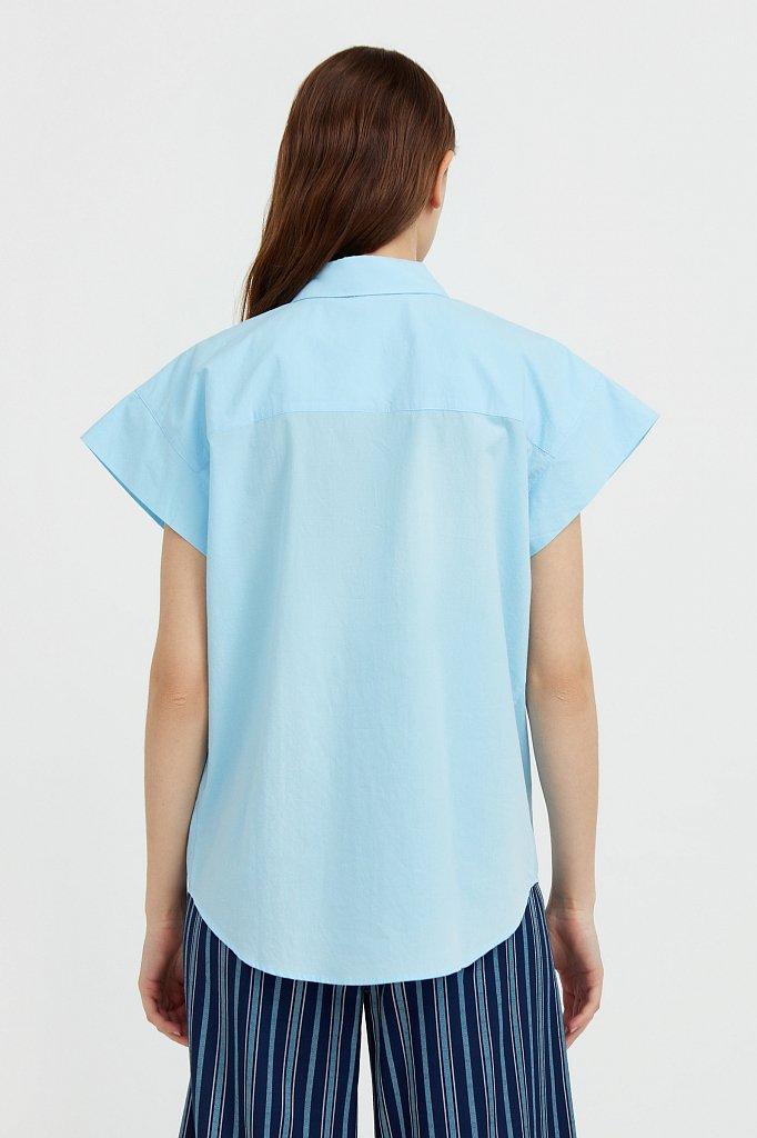 Хлопковая рубашка с короткими рукавами, Модель S21-11082, Фото №4