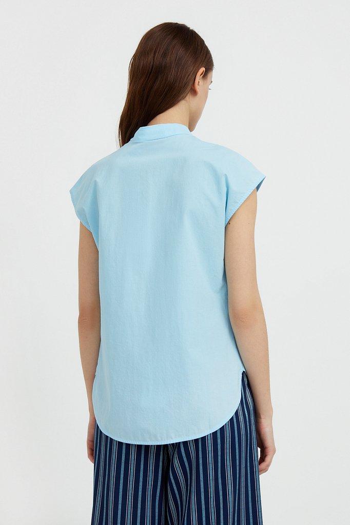 Хлопковая блузка с коротким рукавом, Модель S21-11083, Фото №4