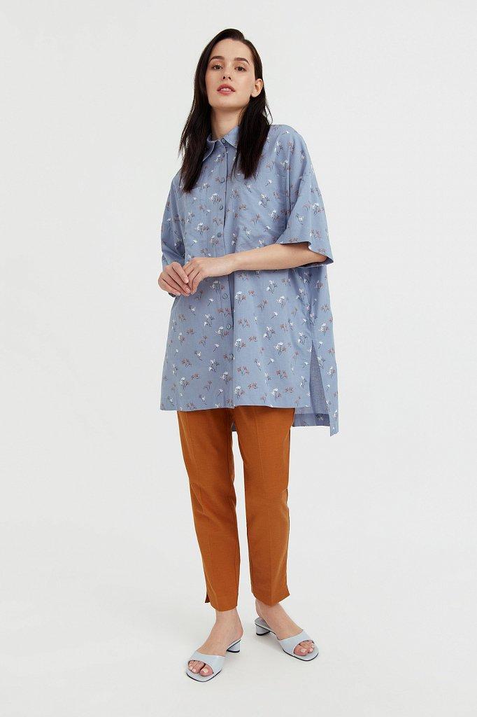Рубашка оверсайз из хлопка, Модель S21-11019, Фото №3